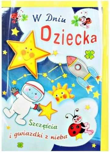 Karnet z okazji Dnia Dziecka, Kosmos