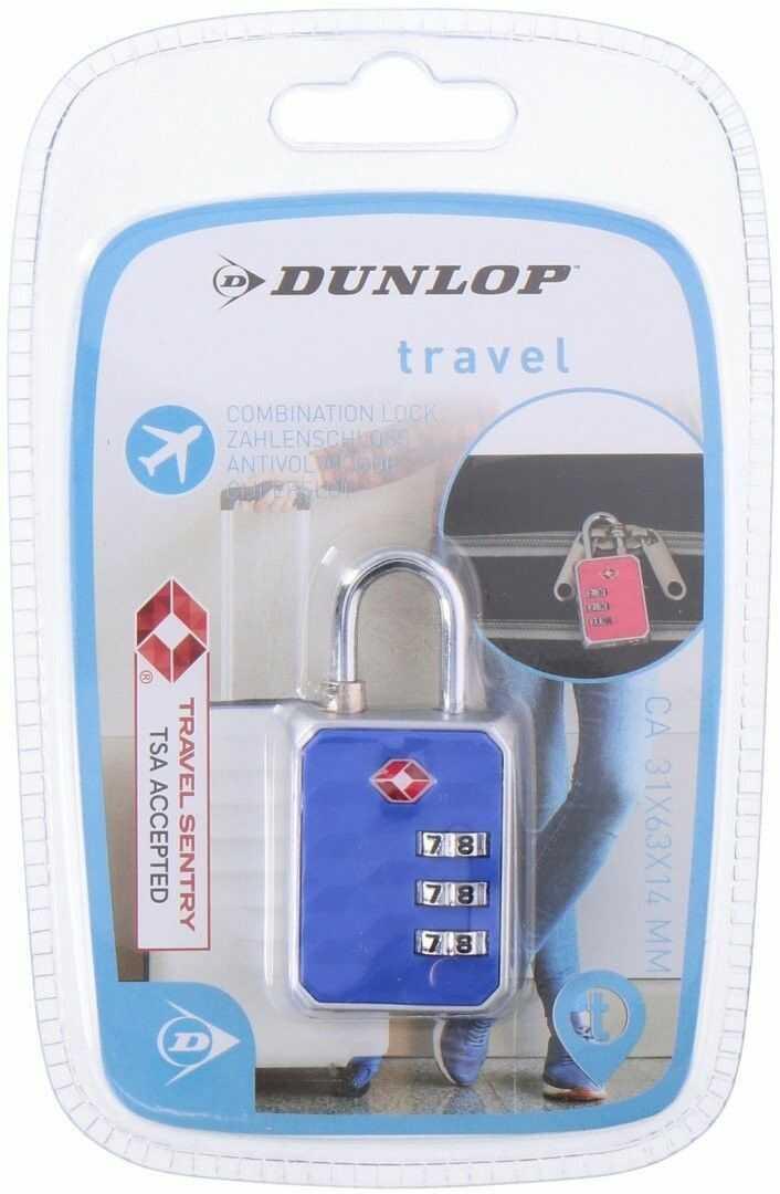 Kłódka na szyfr do bagażu walizki z systemem TSA Dunlop 3,1x6,3x1,4