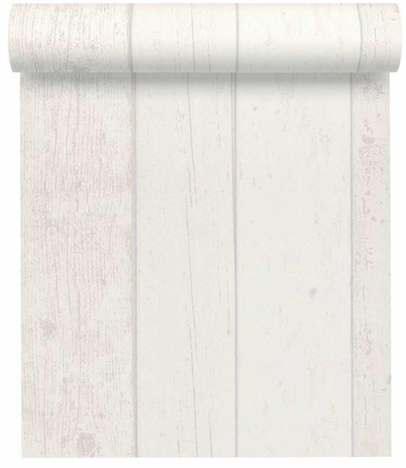 Tapeta Drewno biała imitacja deski winylowa na flizelinie
