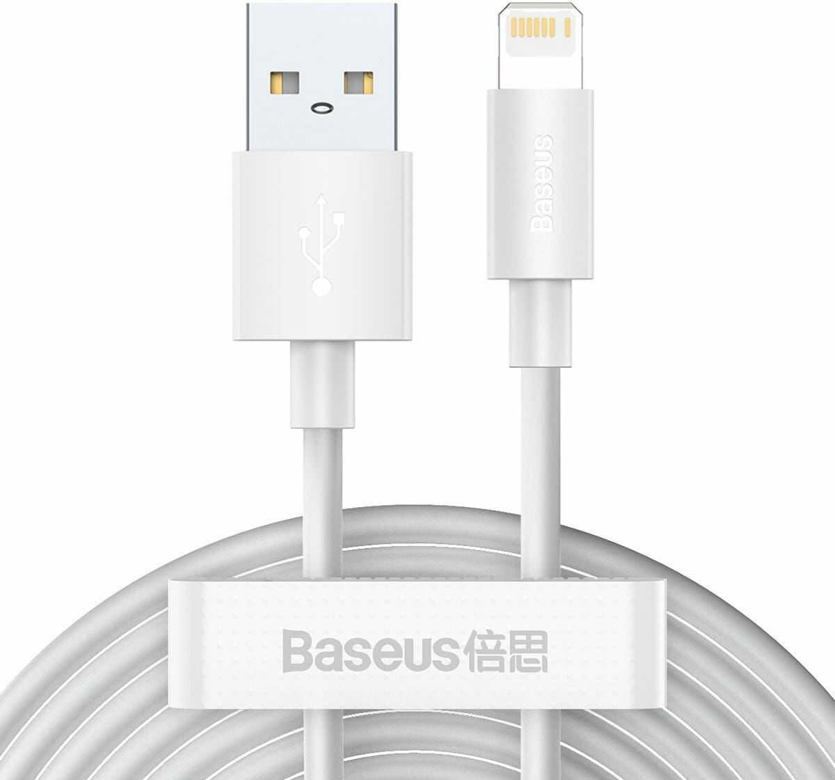 Kabel USB do Lightning Baseus Simple Wisdom, 2.4A, 1.5m (biały) 2szt.