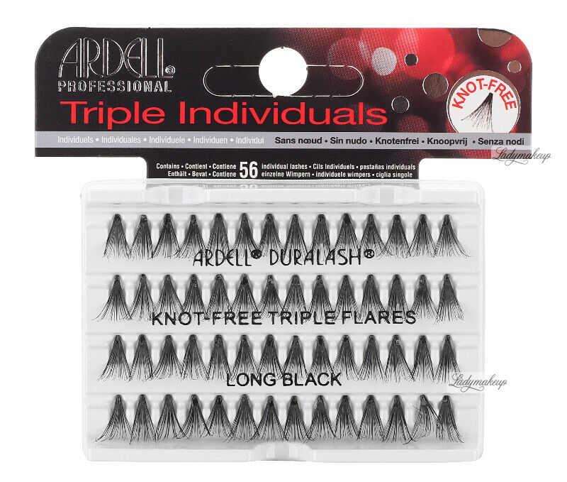 ARDELL - Triple Individuals - Zagęszczone kępki rzęs - KNOT-FREE TRIPLE FLARES - LONG BLACK