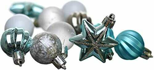 Heitmann Deco bombki choinkowe - 44-częściowy zestaw - bombki - gwiazdy - ozdoby bożonarodzeniowe - turkusowe, srebrne, białe - ok. 3 cm