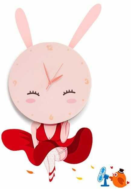 Milagro BUNNY LED CLOCK ML148 kinkiet lampa ścienna dziecięca bajkowy zegar włącznik sznurkowy LED 0,6W 26cm