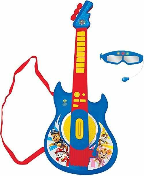 Lexibook K260PA Psi Patrol Chase elektroniczne oświetlenie gitara z mikrofonem, okulary z mikrofonem, piosenki demo, 2 tryby gry, wtyczka MP3, niebieska/czerwona