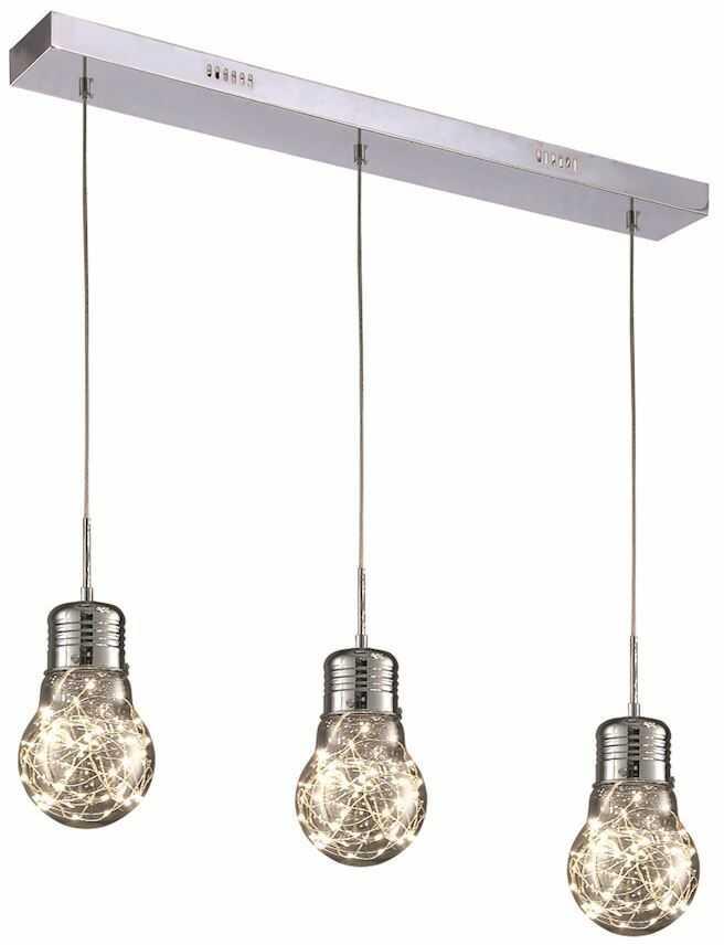Milagro BULB ML136 lampa wisząca regulacja wysokości przezroczysty klosz z dymionego szkła dekoracyjna żarówka metalowe pręciki 15W LED 58cm