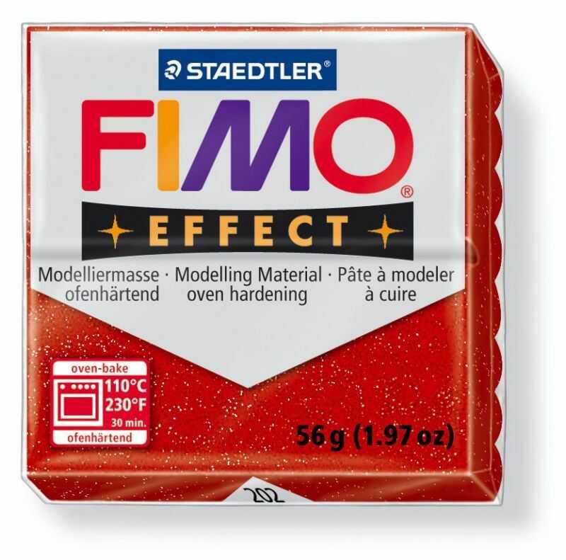 Masa plastyczna FIMO Effect 57g 810030 810481, Kolor masy: Czerwona błyszcząca