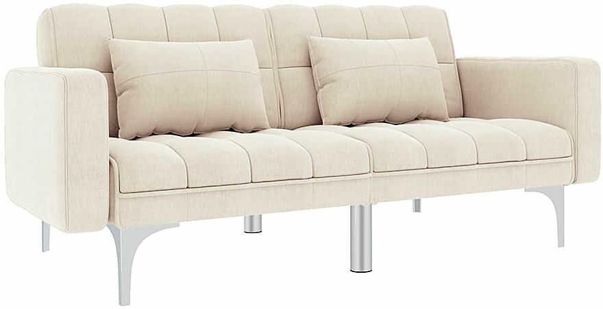 Rozkładana dwuosobowa kremowa sofa - Distira 2D