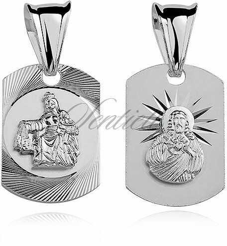 Srebrny medalik jezus / matka boska szkaplerzna dwustronny