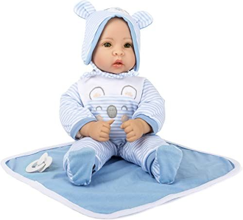 small foot 11238 Lalka Lukas z wyciąganą odzieżą, smoczek i miękki koc, niebieska zabawka