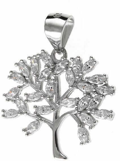 Elegancki rodowany srebrny wisiorek drzewo życia tree of life cyrkonie srebro 925 W0308