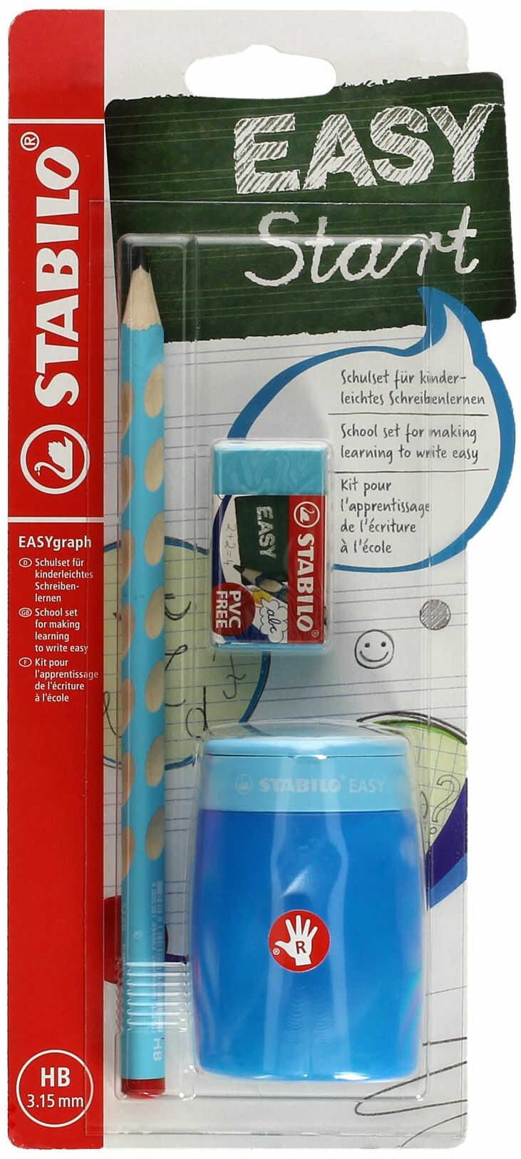 Ołówek do nauki pisania dla praworęcznych HB niebieski Easygraph Stabilo SchoolSet + temperówka i gumka