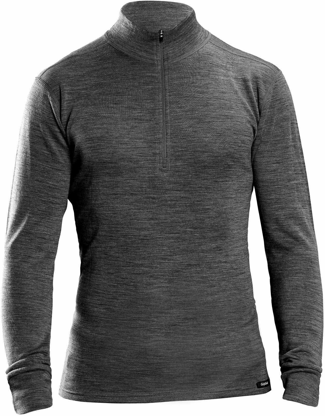 GripGrab Merino wełna bambusowa do połowy zamka, termoaktywna koszulka z długim rękawem na zimę, bielizna funkcyjna dla kobiet i mężczyzn, czarna, S