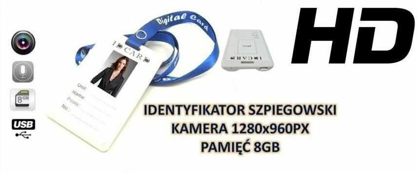 Identyfikator (8GB) Nagrywający Dźwięk + Obraz HD!! +....