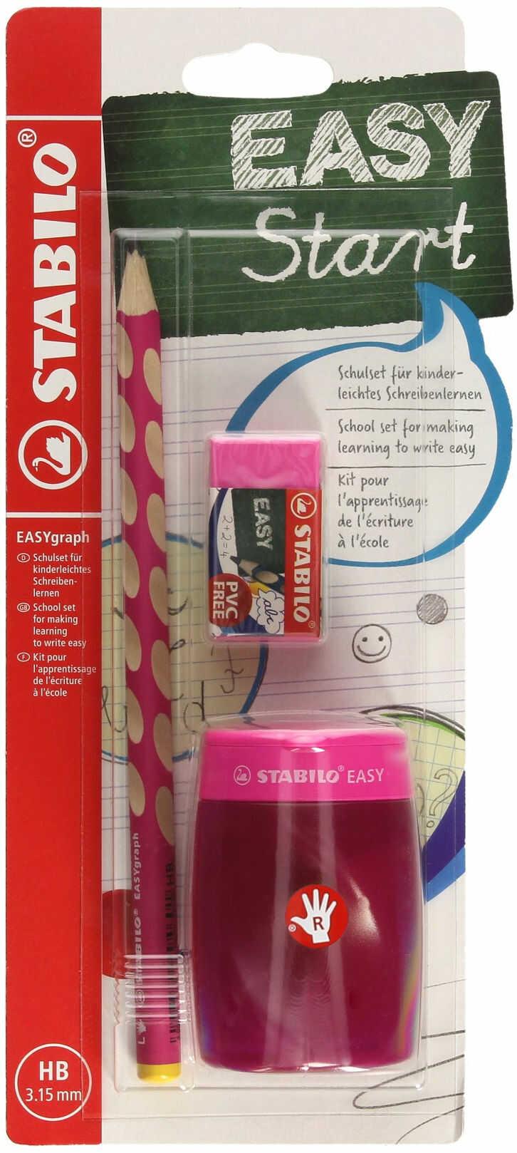 Ołówek do nauki pisania dla praworęcznych HB różowy Easygraph SchoolSet + temperówka i gumka