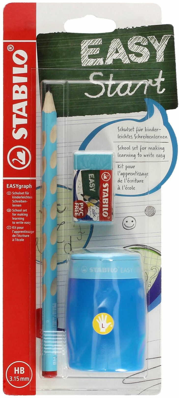 Ołówek do nauki pisania dla leworęcznych HB niebieski Easygraph Stabilo SchoolSet + temperówka i gumka