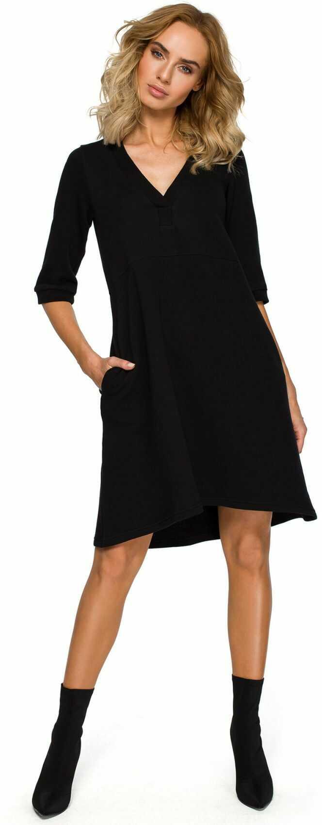 M403 Sukienka z głębokim dekoltem - czarna