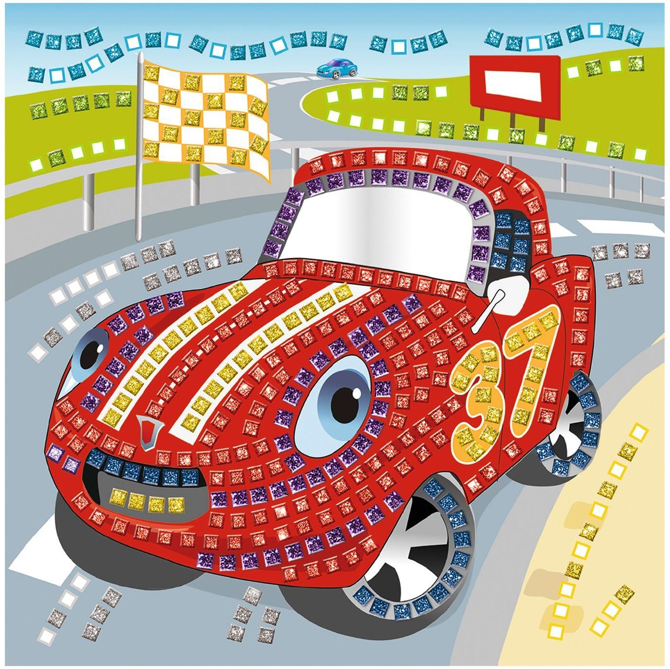 Ursus 8420007  guma piankowa obraz mozaikowy, samochód wyścigowy z brokatem, 434-częściowy, kolorowy
