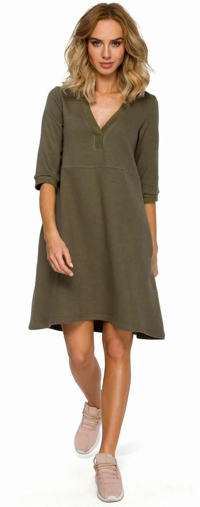 M403 Sukienka z głębokim dekoltem - khaki