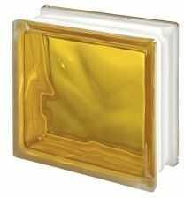 Luksfer 1919 8 Wave Brilly Yellow chmurka żółty pustak szklany 19x19x8 cm