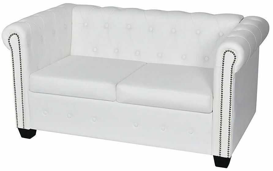 2-osobowa biała sofa w stylu Chesterfield - Charlotte 2Q