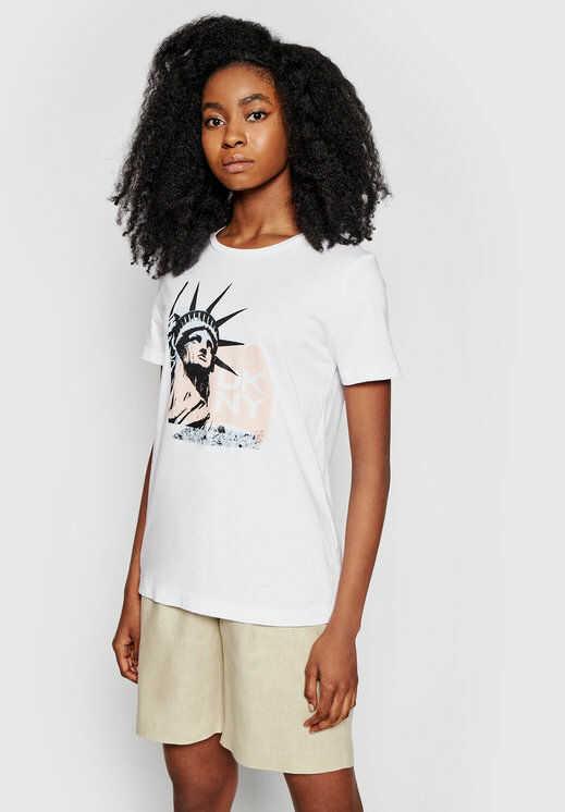 DKNY T-Shirt P0DBICNA Biały Regular Fit