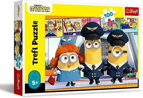 Trefl Minionki na Lotnisku Puzzle 100 Elementów Minionki o Wysokiej Jakości Nadruku dla Dzieci od 5 lat