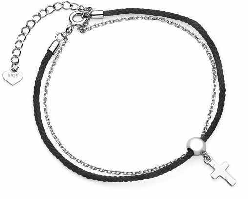 Bransoletka szczęścia celebrytka krzyżyk krzyż cross bawełna srebro 925 Z1648B_B