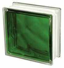 Luksfer 1919 8 Wave Brilly Emerald chmurka zielony pustak szklany 19x19x8 cm