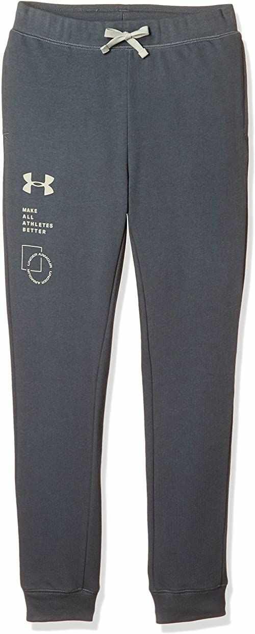 Under Armour Spodnie dresowe dla chłopców Rival Terry Pants, Podziałka szara (012)/podstawa khaki, XS