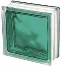 Luksfer 1919 8 Wave Brilly Turquoise chmurka turkusowy pustak szklany 19x19x8 cm