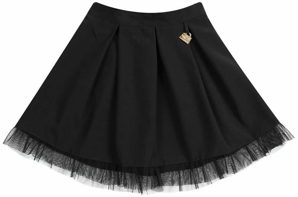 Szkolna spódnica z falbanką dla dziewczynki 122-158 Oktawia czarna