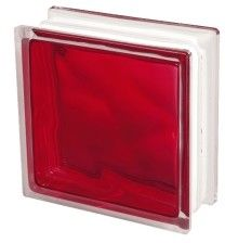 Luksfer 1919 8 Wave Brilly Red chmurka czerwony pustak szklany 19x19x8 cm