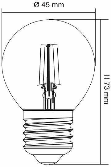 Żarówka Tradycyjna P45 230V E27 40W prezroczysta 16170076