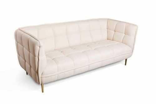 Aksamitna pikowana sofa KRI ecru złote nóżki