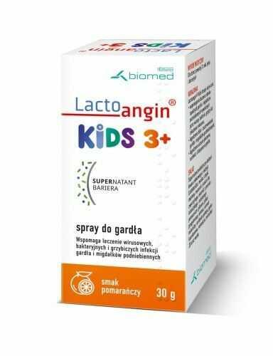 LactoanginKIDS - spray do gardła smak pomarańczowy. Wspomaga leczenie wirusowych, bakteryjnych i grzybiczych infekcji gardła i migdałków podniebiennych.