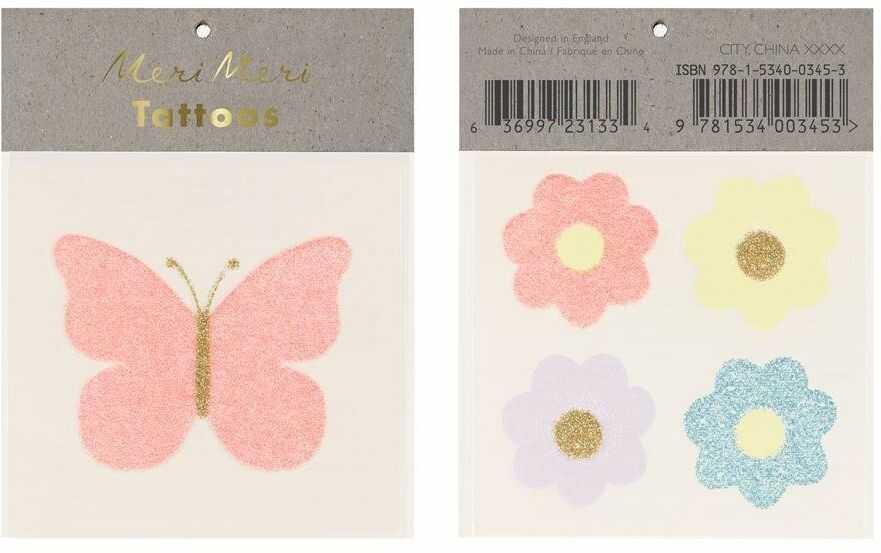 Tatuaże Motyl i kwiaty M206137-Meri Meri, akcesoria dla dzieci
