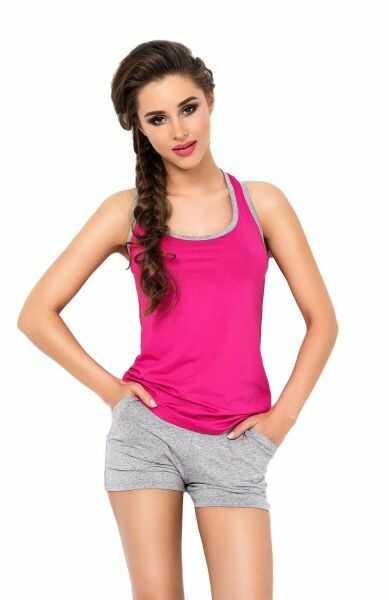 Dkaren aklina różowo-szary piżama damska
