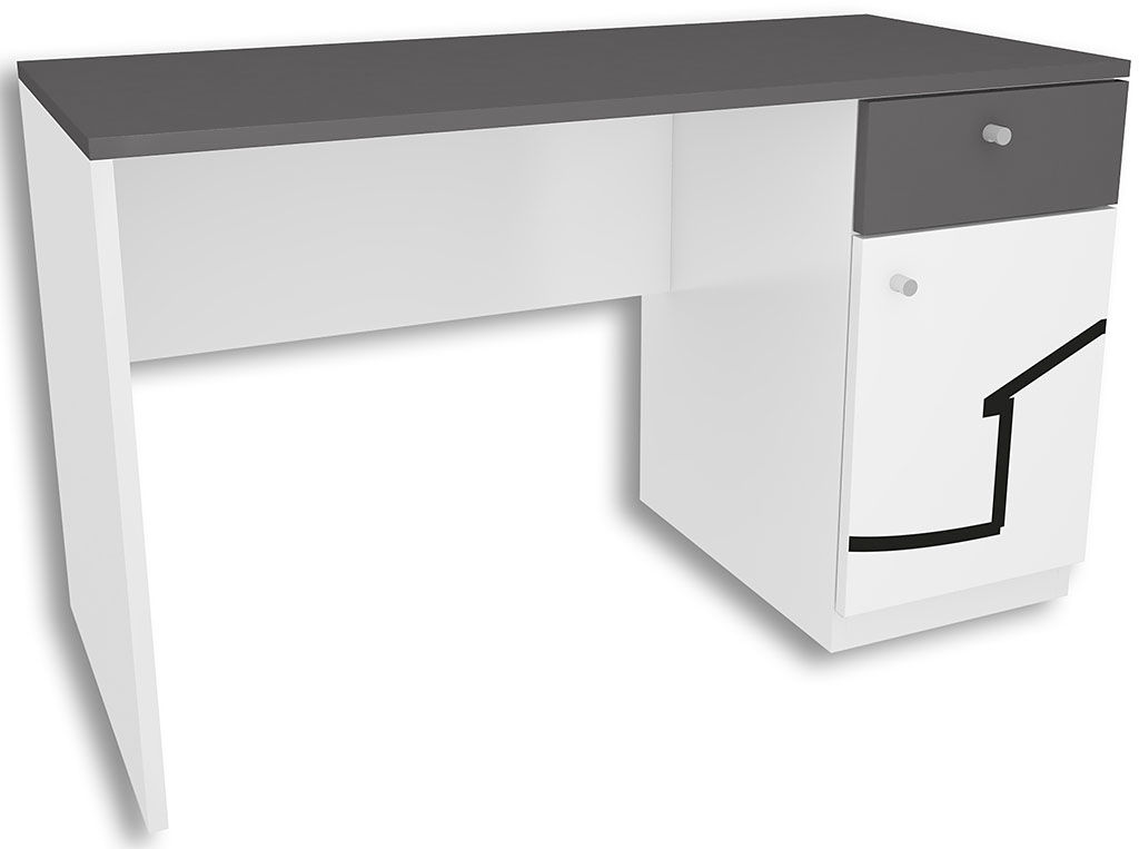 Biało-grafitowe biurko dla dziecka Timi 2X - 5 kolorów