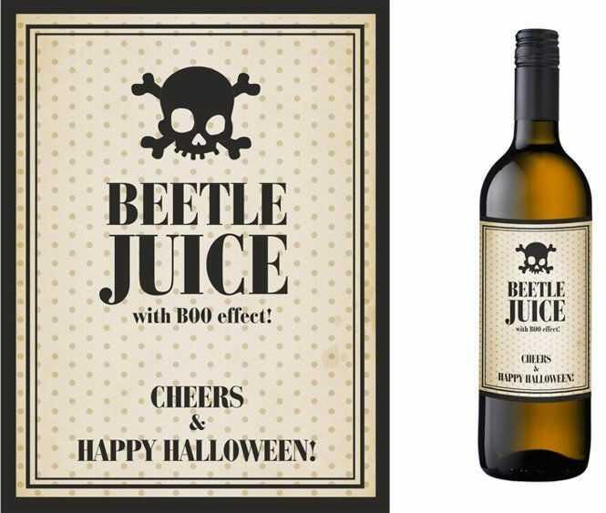 Etykiety na butelki Beetle juice 9,5x12,5cm 10 sztuk ETH3