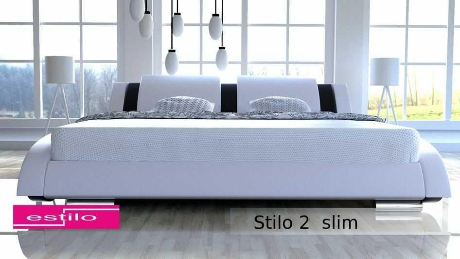 Komplet łóżko do sypialni Stilo-2 Slim z materacem 7-stref