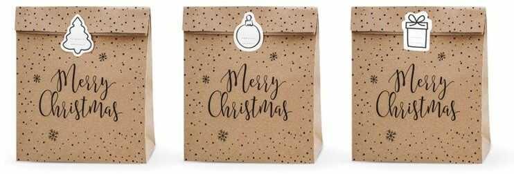 Torebki na prezenty Merry Christmas kraft 25 x 11 x 27cm 3szt TNP3-031