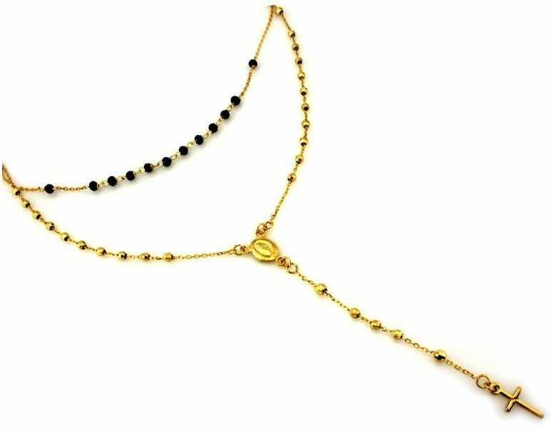 Złoty naszyjnik 585 różaniec PREZENT GRAWER