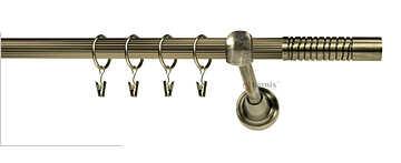 Karnisze Ryflowane Pojedyncz CALABRIA RYFEL 16mm antyk mosiądz