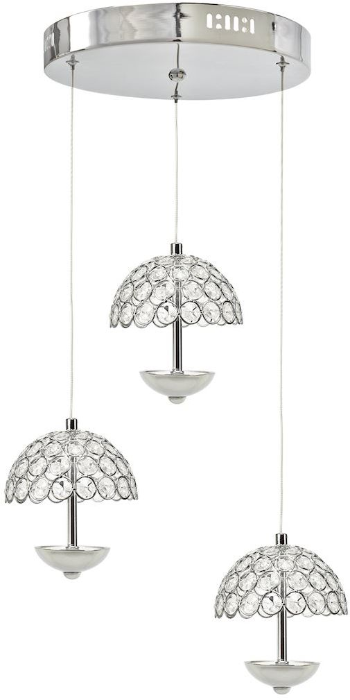 Milagro VENUS ML316 lampa wisząca chrom trzy szklane klosze parasolki kryształ 3x5W LED 4000K 37cm