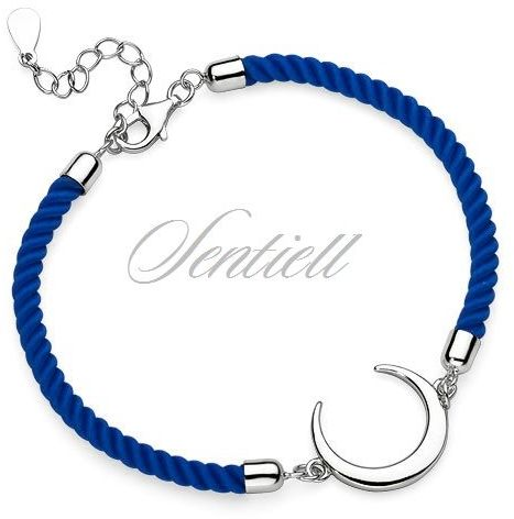 Srebrna pr.925 bransoletka z niebieskim sznurkiem - księżyc