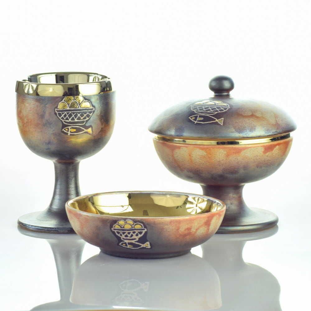 Zestaw liturgiczny, ceramika włoska, cotto antico Pompei
