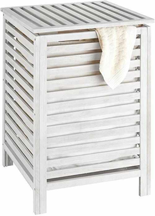 WENKO Kosz na pranie Norway biały - kosz na pranie z workiem na pranie, drewno orzecha włoskiego, 45 x 65 x 45 cm, biały wapnowany