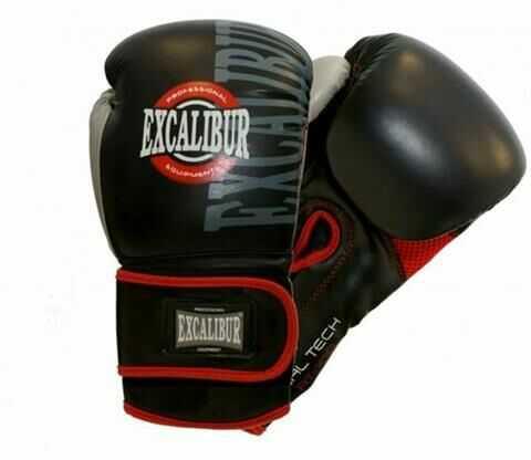 10oz Rękawice bokserskie Excalibur Pro trening bokserski skóra syntetyczna zapinane na rzep wytrzymałe szwy
