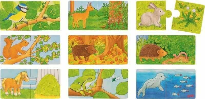 Minipuzzle dla dzieci Zwierzęta i ich pokarm 57464-Goki, puzzle drewniane