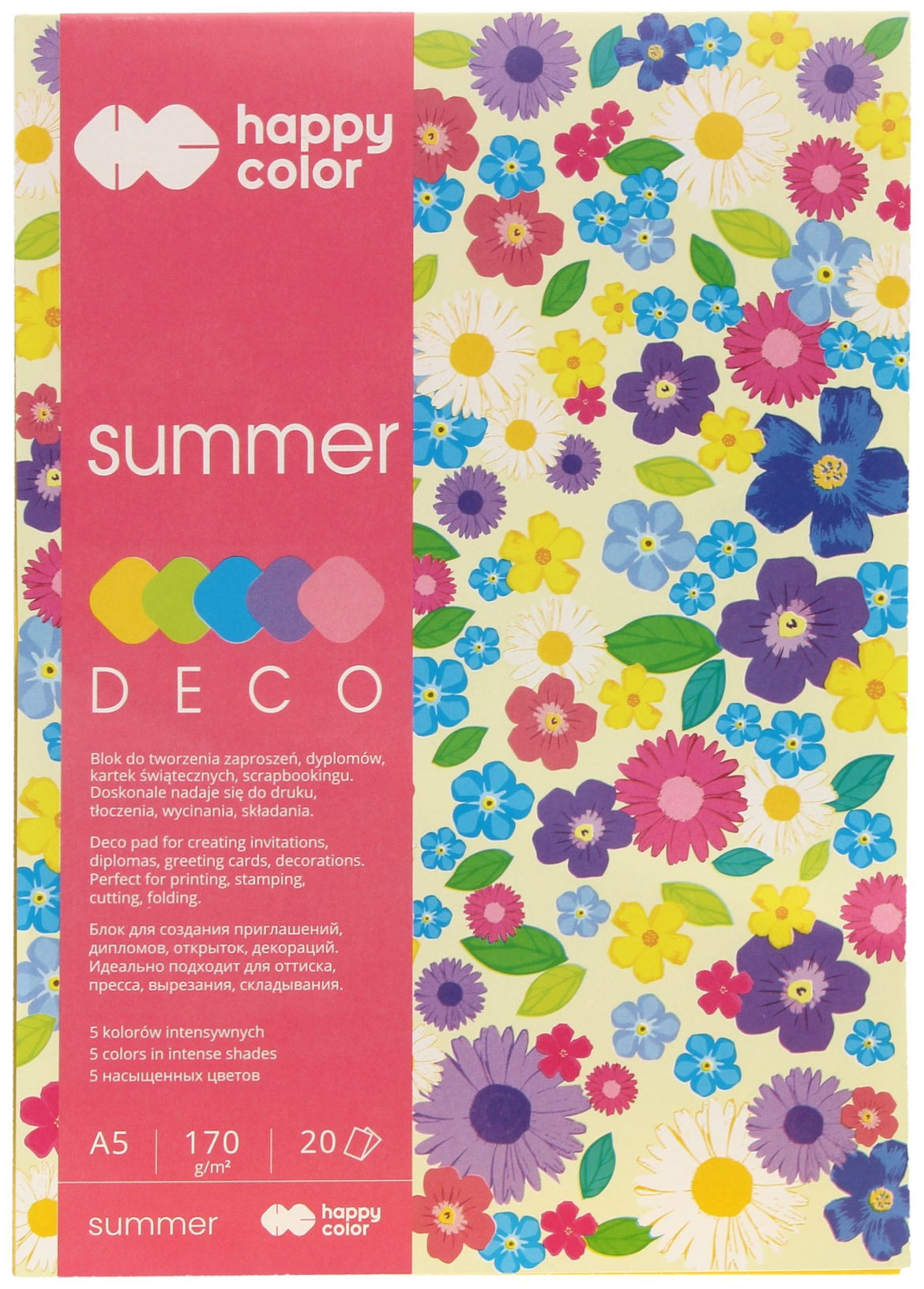 Blok A5/20 5kol 170g Happy Color Deco Summer